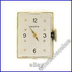 Vintage 14k Gold Enamel Hinged Case Geneve Watch Wide Heavy Tassel Bracelet 74g