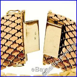 Vintage 14k Tri Color Gold Diamond Pattern Florentine Wide Mesh Chain Bracelet