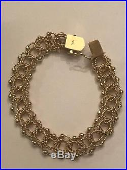 Vintage 14k Yellow Gold 13mm Wide Double Link Charm Bracelet 7 1/2 28.7 Grams