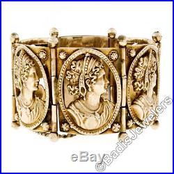 Vintage 14k Yellow Gold 7 Pierced Cameo Portrait Wide Cuff Heavy Gypsy Bracelet