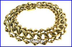 Vintage 14k Yellow Gold Barbell Ball Weaved Wide Heart Charm Link Bracelet