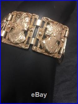 Vintage 14k Yellow Gold Pierced Cameo Portrait Wide Heavy Gypsy Bracelet