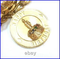 Vintage 14k Yellow Gold Wide Charm Fancy 7 Bracelet withHappy Birthday Charm