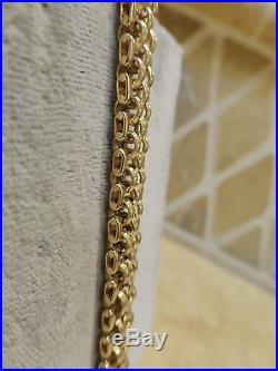 Vintage 14k yellow gold wide brick link bracelet circle line geometric 19.2g