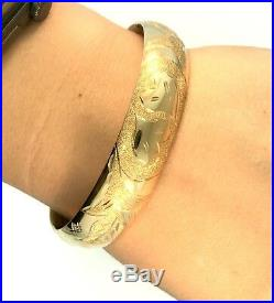 Vintage 14kt Yellow Gold Hinged Engraved 13.5 mm Wide Bangle Bracelet 19 grams