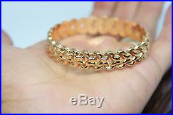 Vintage 18K 750 Solid Yellow Real Gold 12 MM Wide Cuff Bracelet 7 Heavy 14.8 Gr