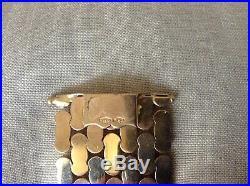 Vintage 18K Gold 252 VI1.25 Wide Woven Flat Link Flexible Bracelet 52.49g 7 L