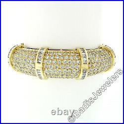 Vintage 18K Gold VVS E 9.05ctw Pave Diamond Wide Dome Statement Bangle Bracelet