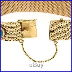 Vintage 18K Rosy Yellow Gold Cabochon 5 Bezel Turquoise Wide Mesh Bracelet 41.9g