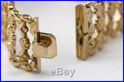 Vintage 18K Wide Rose Gold Bracelet Italian Floral Motif Retail $3500