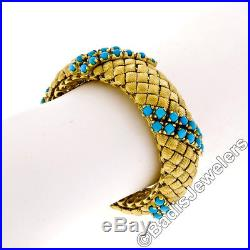Vintage 18K Yellow Gold Fine Turquoise Square Textured Link Wide Heavy Bracelet