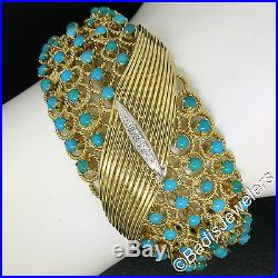 Vintage 18K Yellow Gold Turquoise Diamond Open Twisted Wire Wide Bangle Bracelet