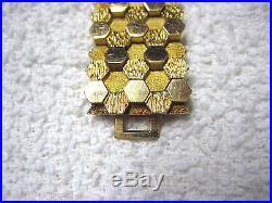 Vintage 18k Heavy Yellow Gold Wide Honeycomb Link Chain Bracelet 61 Grams # 35