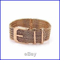 Vintage 18k Rose Gold 19mm Wide Belt & Buckle Bracelet 57 grams Liquidation