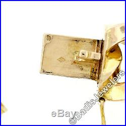 Vintage 18k Rosy Gold 15.5mm Wide Open Squared Cuban Curb Link Chain Bracelet