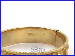 Vintage 18k Yellow Gold 14mm Wide Sea Life Textured Bangle Bracelet