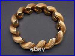 Vintage 18k Yellow Gold 16mm Wide San Marco Macaroni Link Bracelet 7.5 inch