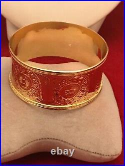 Vintage 18k Yellow Gold Hand Made Wide Slip On Bangle Bracelet