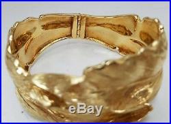 Vintage 18k Yellow Gold Leaf Nature Wide Bangle Cuff Satin Finish Bracelet