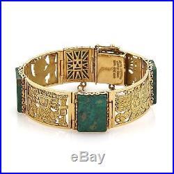 Vintage 18k Yellow Gold & Malachite Peruvian Inca Motifs Wide Link Bracelet