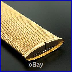 Vintage 18k Yellow Gold WIDE & HEAVY Fancy Accordion Link Cuff Bracelet 116.88g