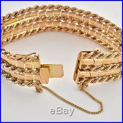 Vintage 1950 18K Solid Yellow Gold Flexible Wide Massive Bracelet 7 3/4 x 3/4