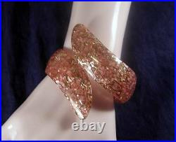 Vintage 1950's 2 Wide Pink Glitter Confetti Lucite Hinged Cuff Bangle Bracelet