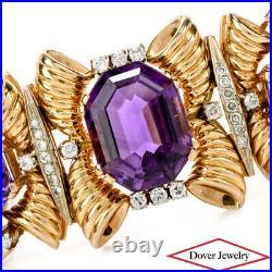 Vintage 1950's Diamond 54.70ct Amethyst 18K Gold Wide Bracelet 98.9 Grams