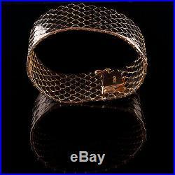 Vintage 1960's 18k Yellow Gold Wide Fish Scale Bracelet 130.8g 7.5 Length