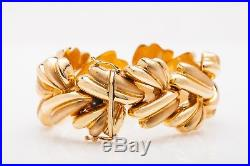 Vintage 1960s $6000 FANCY LINK RIBBON 14k Yellow Gold WIDE Bracelet 7 59g
