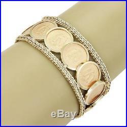 Vintage 22kt & 14kt Y/Gold 12 Mexico Coins, Basket Weave Design Wide Bracelet