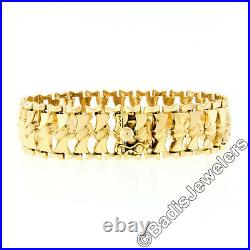 Vintage 6.5 18k Yellow Gold Wide Fancy Textured Twisted Faceted Link Bracelet