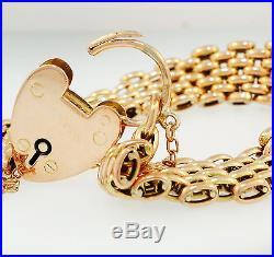 Vintage 9Ct Rose Gold 7 3/4 Bar Gate Bracelet withHeart Padlock (11mm Wide Link)