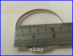 Vintage 9ct 9k Yellow Gold 375 D Shape 6mm Wide Simple Plain Bangle Bracelet