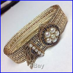 Vintage Antique Sapphire Pearl 14k Yellow Gold Wide Fringe Bracelet