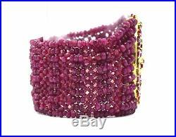 Vintage Art Deco Style Diamond Ruby Bead Wide Strand Bracelet 18k Yellow Gold