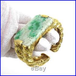 Vintage David Webb Jadeite Jade & Hammered Rope Design 18K Gold Wide Cuff Bangle