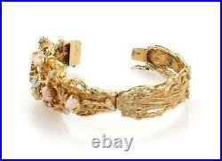 Vintage Diamond & Coral 14k Two Tone Gold Wide Textured Floral Bracelet
