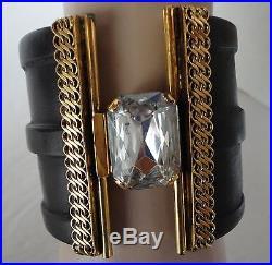 Vintage Erickson Beamon Wide Cuff HInge Bracelet Wood/Gold Tone/Rhinestone