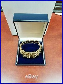 Vintage Estate 14K 585 Solid Yellow Real Gold 25 MM Wide Bracelet 7 Heavy 44 Gr