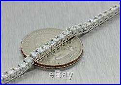 Vintage Estate 14k White Gold 4.00ct Diamond 3mm Wide Tennis Bracelet