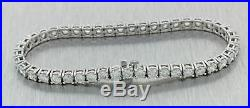 Vintage Estate 14k White Gold 7.91ctw Diamond 4mm Wide Tennis Bracelet