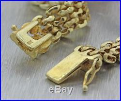 Vintage Estate 14k Yellow Gold 2.08ctw Diamond Ruby 10mm Wide Panther Bracelet