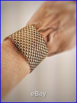 Vintage Estate 18K Yellow Gold Wide Mesh Swedish Sweden Bracelet 50.9 grams