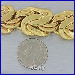 Vintage Estate 18k Yellow 28mm Wide Woven Chunky Link Heavy Bracelet 123.4g
