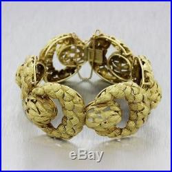 Vintage Estate 18k Yellow Textured 28mm Wide Link Chunky Heavy Bracelet 80.6g