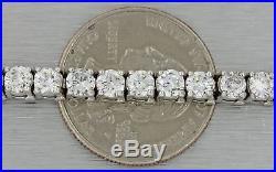 Vintage Estate Solid 14k White Gold 10.00ct Diamond 4mm Wide Tennis Bracelet