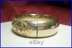 Vintage Gold Filled Monogrammed Hinged Wide Bangle Cuff Bracelet 36.2 Grams