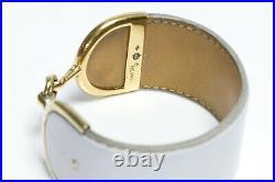 Vintage HERMES Paris Deux Eperons Wide Gold Plated White Leather Bracelet