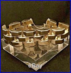 Vintage Heavy 14k Yellow Gold Geometric Link 26 mm Wide Bracelet Rare Italy